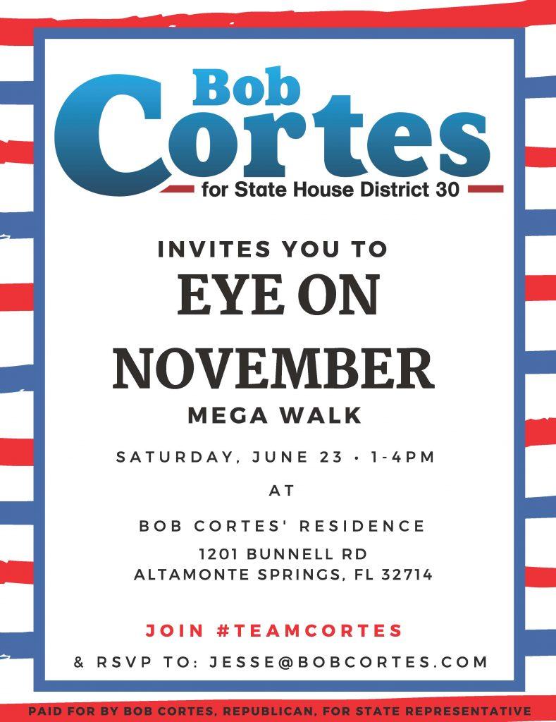Bob Cortes June 23 Mega Walk flyer