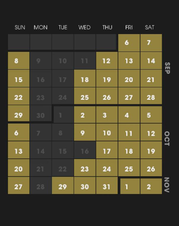 Calendar for HHN 29 (Universal Orlando)